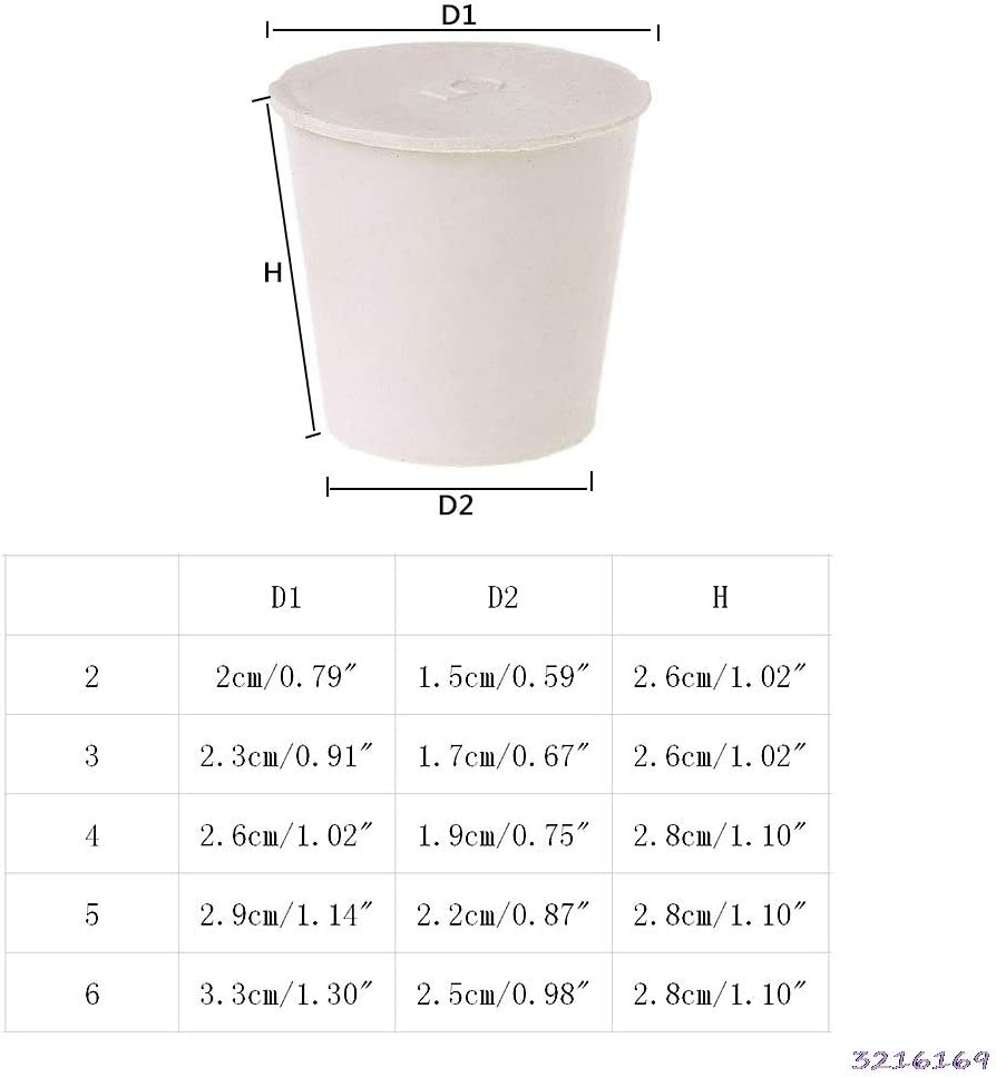 NO LOGO L-Yune Specification : Size 5 2.9x2.2x2.8cm Stopper Caoutchouc Naturel 2pcs Laboratoire Bouteille /ÉPROUVETTE Bouchon d/étanch/éit/é Pousser bondes