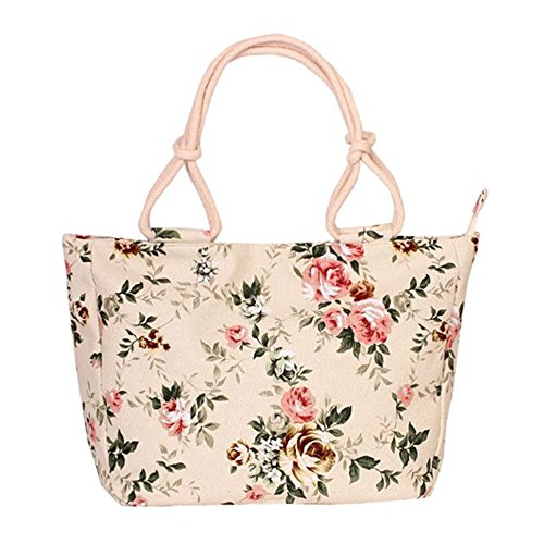 WongSinTong Women Elegant Floral Printed Handbag Canvas Shoulder Tote Bag