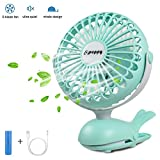 APUPPY Battery Operated Clip Fan, Portable Battery Powered Quiet Desk Fan with 5 Blades Cute Whale Design for Baby Stroller Office Trave (Green,6inch)