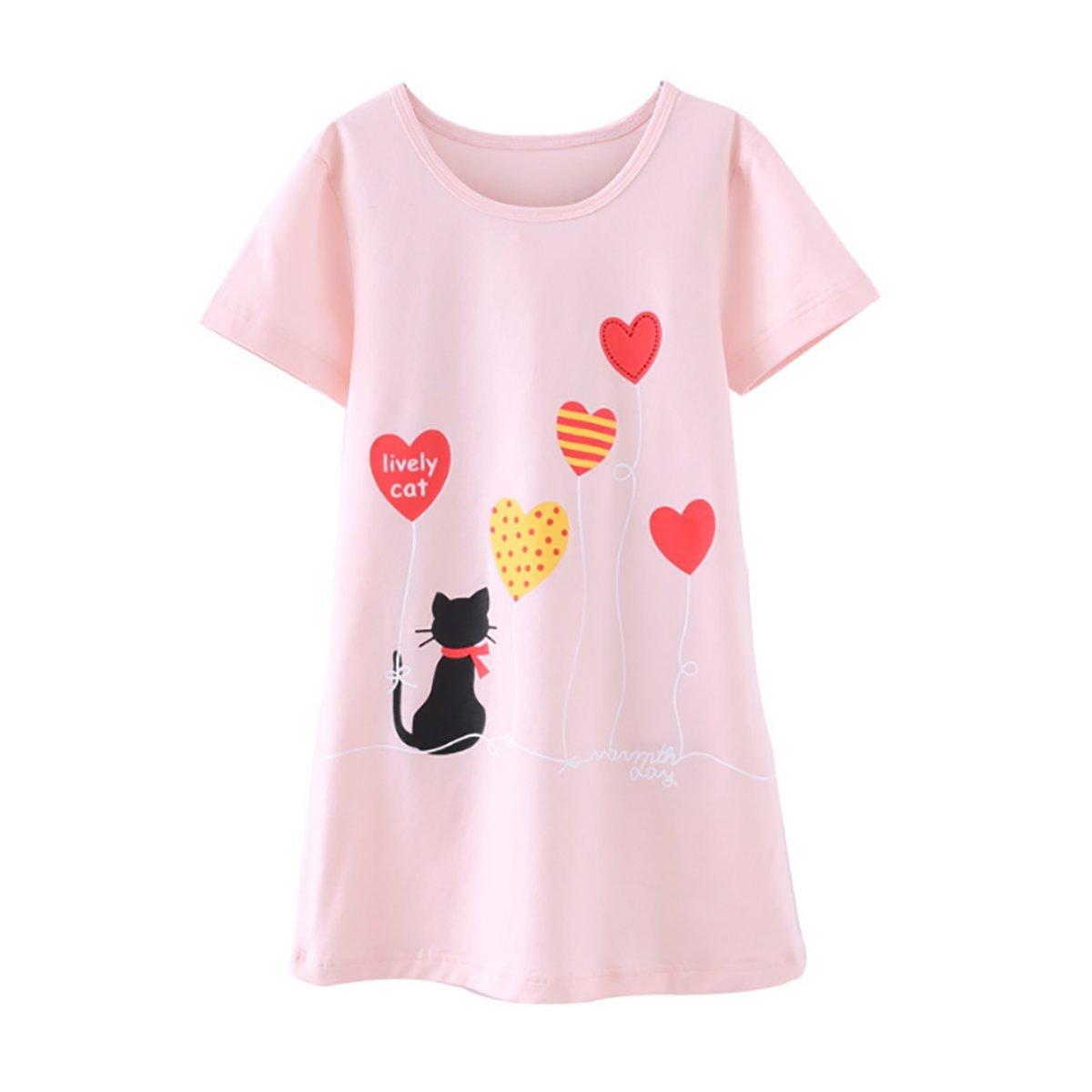 DGAGA Little Girls Cute Cotton Floral Nightgown Sleepwear Pajamas Sleep Dresses Pink 7-8 Years /140cm