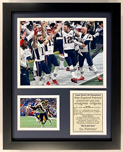 Legends Never Die NFL New England Patriots 2018 Super Bowl LIII Champions Framed Photo Collage, Field, 12