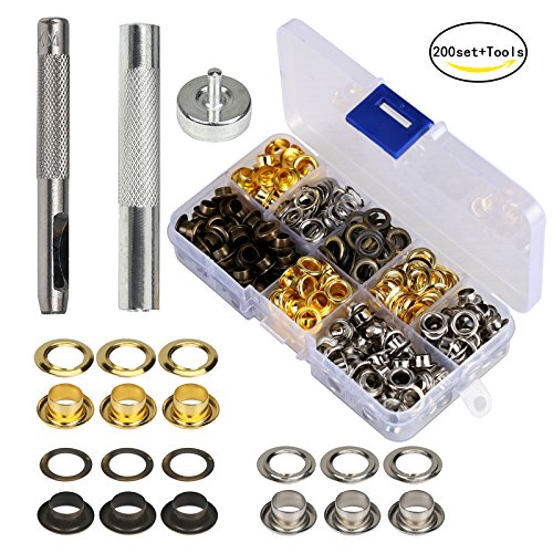 Grommet Kit MEZOOM 200 Set 1/4 inch Inside Diameter Grommet Setting Tool Metal Eyelets with Storage Box for Shoe Clothes Leather Crafts,DIY Projects