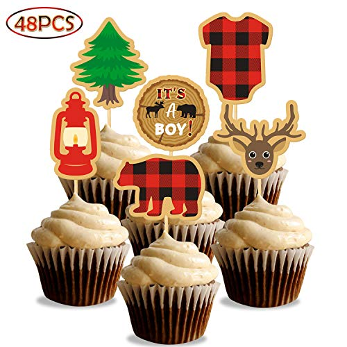 Baby Shower Cupcake Papers (Lumberjack Baby Shower Cupcake Toppers, Buffalo Plaid Winter It's a Boy Gender Reveal Cake Decorations Rustic Woodland Party)