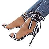 Plaid High Heels Strappy Stiletto Summer Lace Up Sandals Party Weeding Office Ladies Shoes