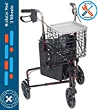 "Rollator Walker for Seniors 3 Wheel Rolling Walker, All Terrain 8"" Wheels, Includes"