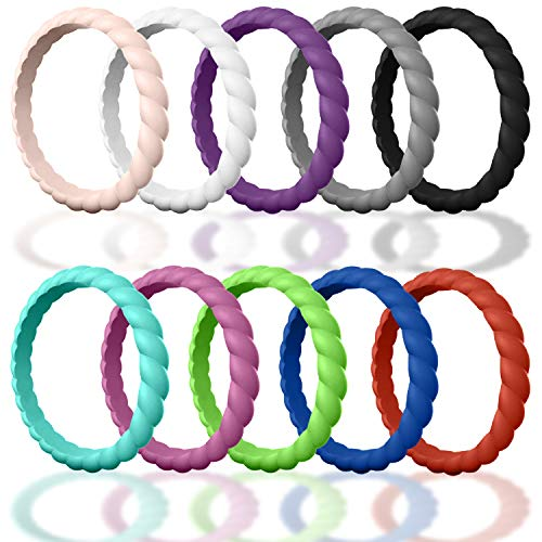 Made for Her DSZ Stackable Silicone Wedding Rings for Women - Thin Rubber Bands for Active Women (Sand-Pink, White, Purple, Smoke-Grey, Royal-Black,Turquoise,Pink, Green,Blue,Red, 6.5-7 (17.32mm)) ()