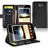 ChannelExpert Funda Carcasa Cuero Piel Con Billtera Case Para Samsung Galaxy Note N7000, Negra