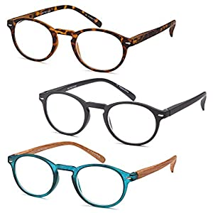 GAMMA RAY 3pk Retro Round Readers w Vintage Keyhole Bridge Reading Glasses - 1.50x