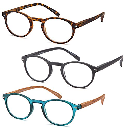 - Gamma Ray Reading Glasses - 3 Pairs Flex Round Readers for Women and Men - 1.00