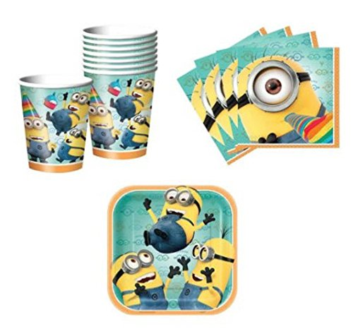 Despicable Me 2 Birthday Party Set Party Supplies Pack for 16 guests - plates, cups, -