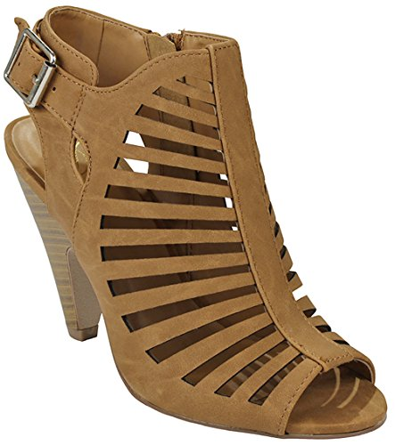 JJF Shoes Women Tan Buckle Cut Out Strappy Side Zipper Slingback Chunky Heel Gladiator Roman Dress Sandals-7 (Sandal Buckle Side)