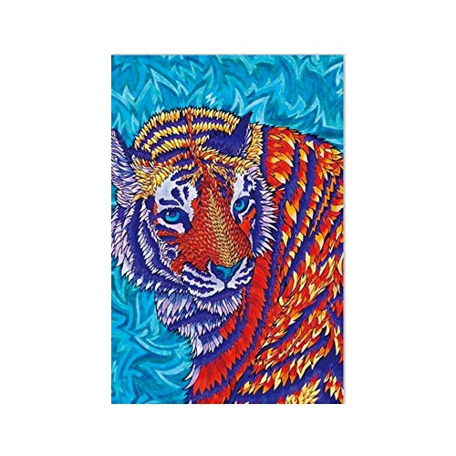 Tiger Special Shaped Diamond Painting DIY 5D Partial Drill Cross Stitch Kits Crystal (Multicolor) -