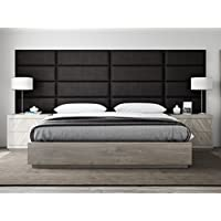 VANT Upholstered Headboards - Accent Wall Panels - Packs Of 4 - Textured Cotton Weave Black Denim - 39 Wide x 11.5 Height - Easy To Install - Twin - King Size Headboard