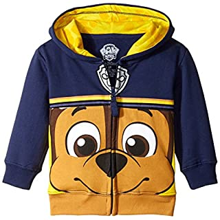 Paw Patrol Nickelodeon Toddler Boys Character Big Face Zip-Up Hoodies, Chase Navy, 5T