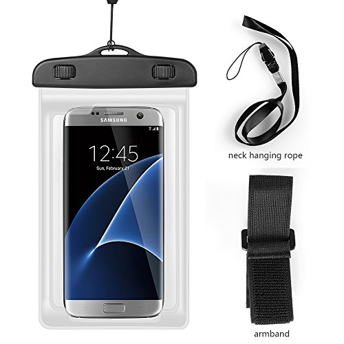 Lanyard Waterproof Dry Bag Pouch Armband Case for Google Pixel 3 XL/OnePlus 6T / Nokia 3.1 Plus/iPhone Xs Max/iPhone XR/Sony Xerpria XZ3 / LG V40 ThinQ/LG Stylo 4 (White)
