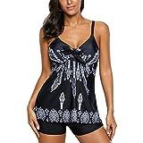 Womens 2 Piece Bikini Swimwear Printed Padded Tank Top Tankini Swimsuits For Women