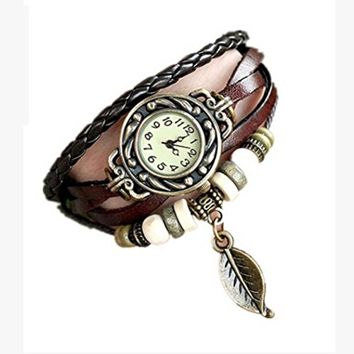Clearance!Women Girl Vintage Watches, Bracelet Wristwatches Leaf Pendant (Coffee)