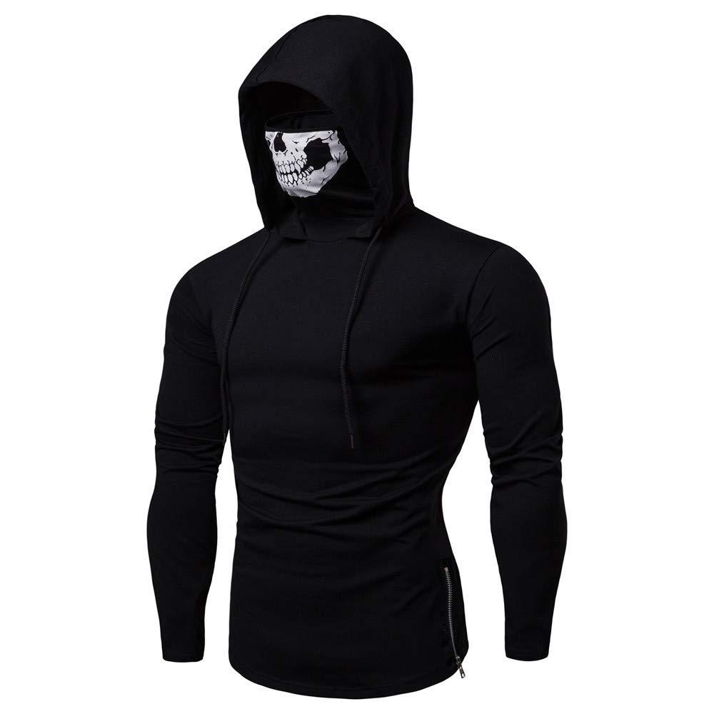 YOMXL Winter Men Skull Mask Hoodie Funny Windproof Long Sleeve Slim Fit Hooded Sweatshirt Ski Face Mask Motorcycle Neck Hooded Pullover Solid Sweatshirt Tops M, Black B