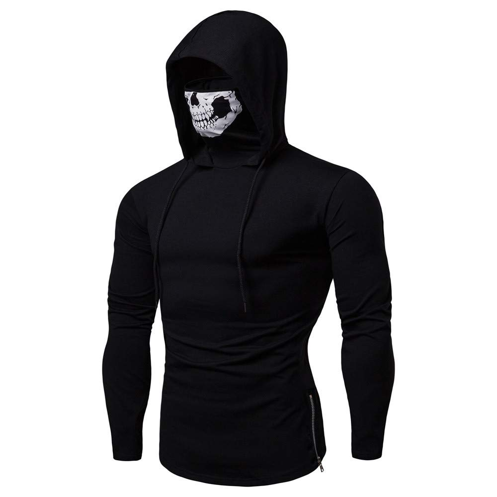 acf2ba44 Realdo Mens Hoodie, Mens Skull Mask Pullover Casual Solid Zip Long Sleeve  Hooded Sweatshirt Tops at Amazon Men's Clothing store:
