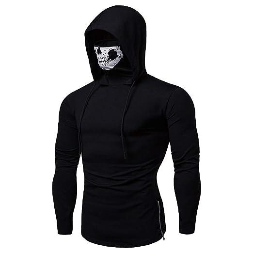 fc8fe5a8e5f0 Men Novelty Hoodie Long Sleeve Hooded Sweatshirts Fashion Skull Printed  High Neck Tops  n(