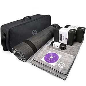LEVOIT Premium Yoga Set Kit, 8 Pieces Equipment, Includes 1 TPE Yoga Exercise Mat,1 Instruction DVD, 2 Yoga Blocks,2 Yoga Towels,1 Carrying Bag & Strap, Perfect Gift for Yogi & Beginners