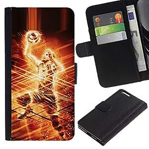 // PHONE CASE GIFT // Moda Estuche Funda de Cuero Billetera Tarjeta de crédito dinero bolsa Cubierta de proteccion Caso Apple Iphone 6 PLUS 5.5 / Basketball Player /