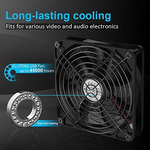 ELUTENG USB Fan 120mm Router Cooling Fan 5V DVR Cooling USB Blower Mini AV Cabient Cooler Ventilator Compatible for Xbox//Receive//PC