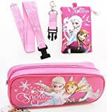 Disney Frozen Elsa and Anna Pencil Case and Lanyard Coin Purse Wallet / ID BAG Pink