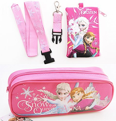 Disney Frozen Elsa and Anna Pencil Case and Lanyard Coin Purse Wallet / ID BAG Pink by Disney