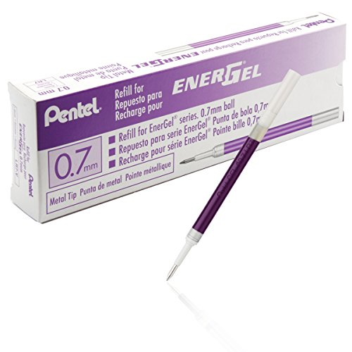 Refill for Energel (bl57, Bl77, Bl407, Bl107, Bl117), 0.7mm, Violet Ink, Box of 12 (Pentel Refill Energel Pen Retractable)