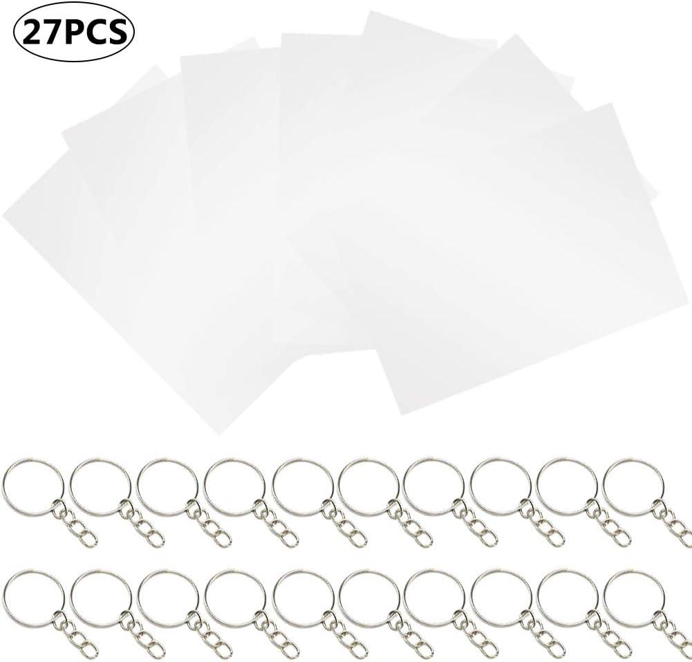 BESTZY 27pcs Transparente mate Shrinky dinks Placas Retráctiles Plastico magico imprimible Blanco sin patrón