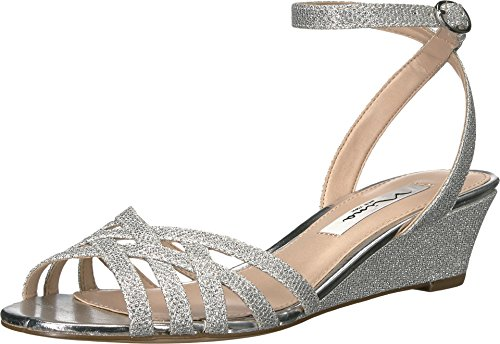 Nina Women's Faria Wedge Sandal, Yf-Silver, 6.5 M (Criss Cross Sandal Pump)