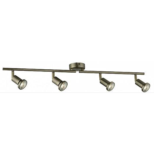 modern 4 light ceiling spotlight bar in antique brass with 4 x 50