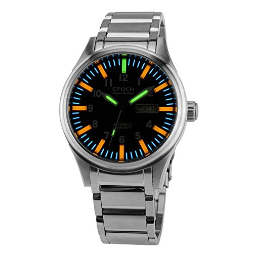 EPOCH 7019G Steel Strap Waterproof 100m 63 tritium Gas Tubes Luminous Mens Fashion Mechanical Watch Wristwatch (Epoch Watch)