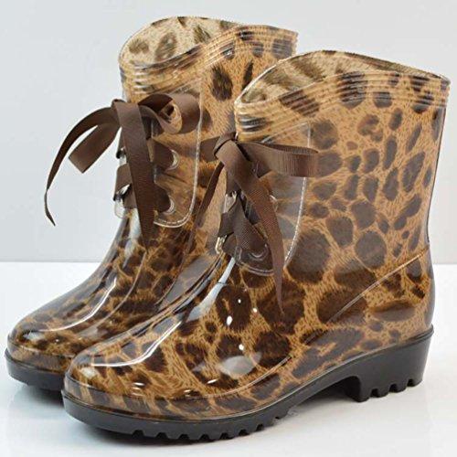 LvRao Mujeres Boots de Tacón Alto Impermeable Zapatos de Lluvia Nieve Botas Zapatos de Goma para Damas Leopardo