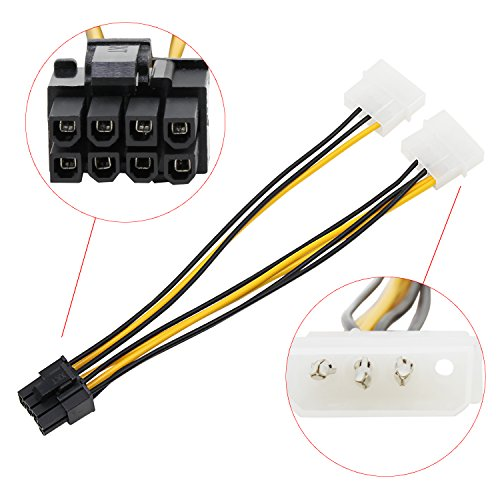 AIKE 8Pin PCI Express Male To Dual LP4 4Pin Molex IDE Power Cable Adapter 10Pcs by Aike® (Image #2)
