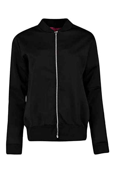 6a9f31cf9b8ea Boohoo Womens Amelia Scuba MA1 Bomber Jacket In Black Size 12: Amazon.ca:  Clothing & Accessories