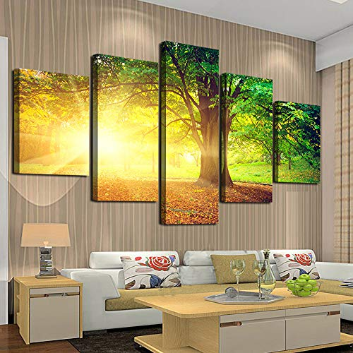 Forest Bedroom - Cao Gen Decor Art-AH40110 5 Panels Wall Art Yellow Sunset Trees Canvas Prints Natural Forest Pictures Framed Ready to Hang for Wall Decor Artwork Bedroom Wall Decorations Office Works Home Decoration