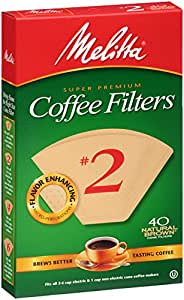 Melitta Cone Coffee Filters, Natural Brown, No. 2, 40-Count Filters (Pack of 12)