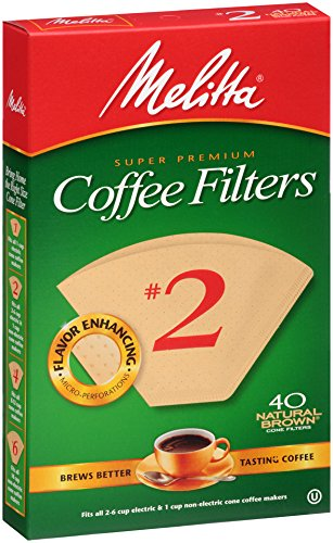 Melitta Cone Coffee Filters, Natural Brown, No. 2, 40-Count Filters (Pack of 12) (40 Cup Coffee Filters compare prices)