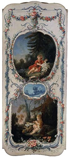 Oil Painting 'Francois Boucher (Workshop Of) - The Arts And Sciences Poetry And Music, 1750-52' 18 x 41 inch / 46 x 103 cm , on High Definition HD canvas prints, Kids Room, Living Room And Nur decor