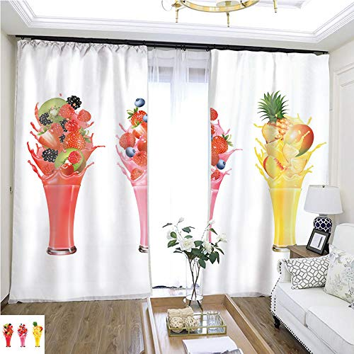 (Christmas Curtain Fruit in Juice Splashes Strawberry Guava Kiwi Pineapple W108 x L84 4099 Loop Curtain Panels Highprecision Curtains for bedrooms Living Rooms Kitchens)