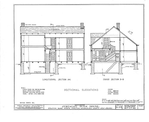 Historic Pictoric Blueprint Diagram HABS NJ,12-STELN,1- (Sheet 6 of 9) - Jeremiah Dunn House, Stelton Road, North Stelton, Middlesex County, NJ 14in x 11in