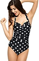 Ebuddy 50s Retro Vintage Style Polka Dot One Piece Swimwear Monokinis