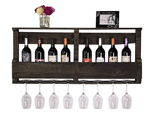 del Hutson Designs - The Original Wine Rack, USA Handmade Reclaimed Wood, Wall Mounted, 8 Bottle 8 Long Stem Glass Holder & Shelf (Ebony)
