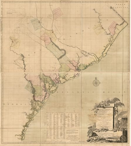 1757 Map A map of South Carolina and a part of Georgia. Containing the whole sea-coast; all the islands, inlets, rivers, creeks, parishes, townships, boroughs, roads, and bridges; as also, several pla (South Pottery Carolina Barn)