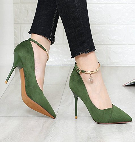 Pointed 9Cm One MDRW Shoes Mouth 34 Work Elegant Spring Single Comfortable Buckle Heel Suede Green Word Lady Shallow Leisure Shoes Fine Heel High wwgYCAq