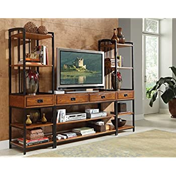 Home Styles 5050 34 Modern Craftsman 3 Piece Gaming Entertainment Center,  Distressed Oak