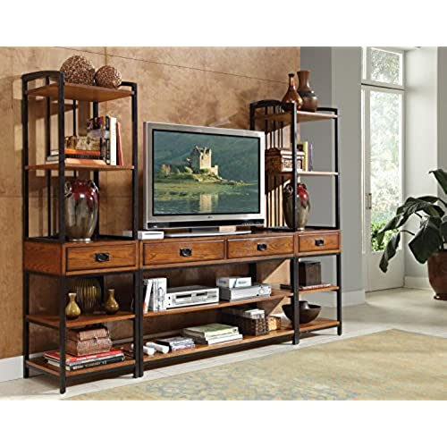 Home Styles 5050 34 Modern Craftsman 3 Piece Gaming Entertainment Center,  Distressed Oak Finish