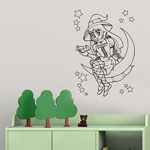 Vinyl Wall Decals for Children's Room Little Witch on Moon Decor Stickers Vinyl Mural MK5977 ()